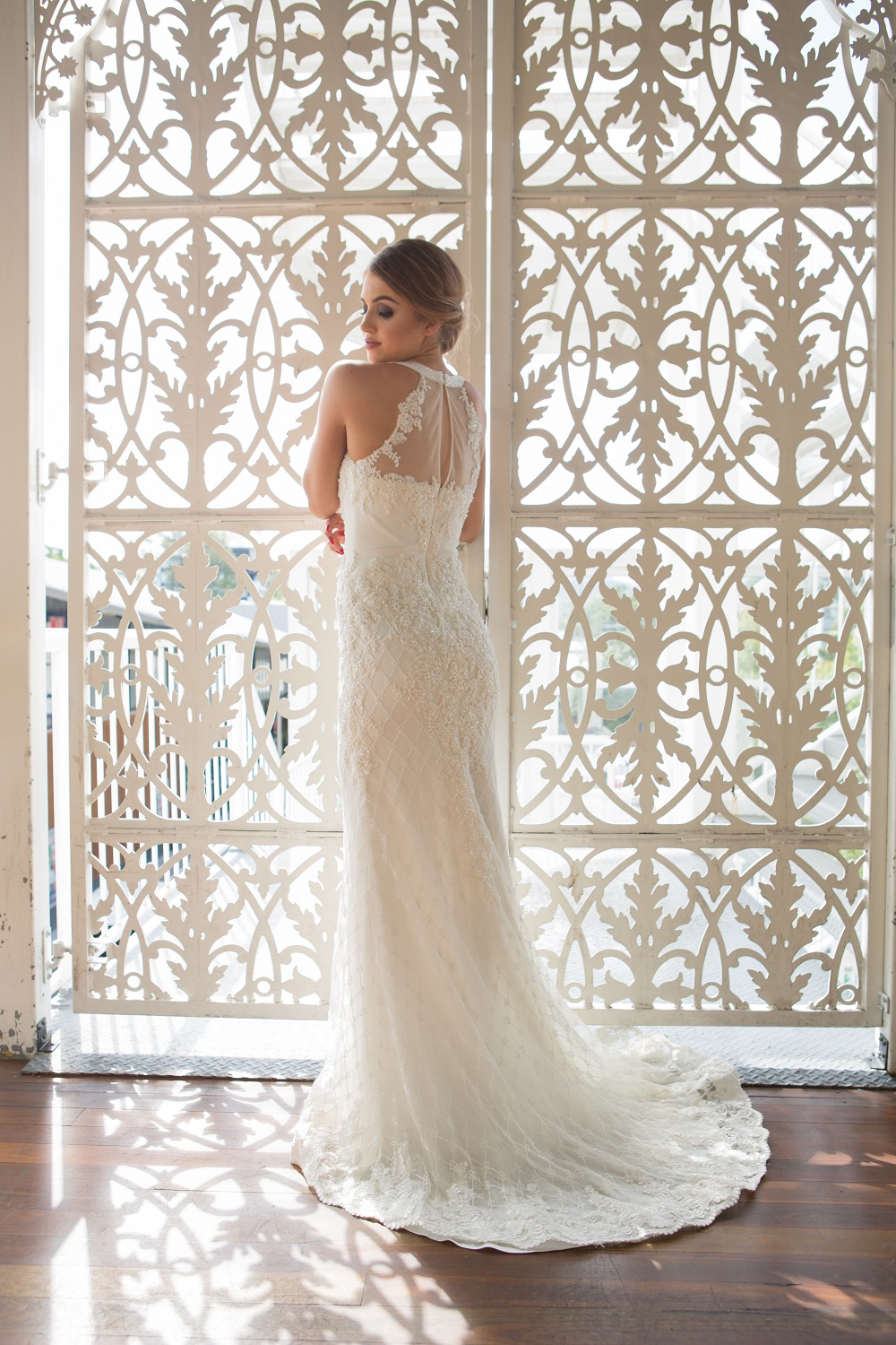Clarissa beaded high neck wedding dress