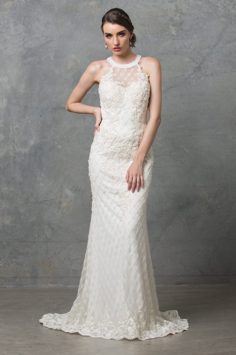 Clarissa Beaded High Neck Wedding Dress Sentani Boutique