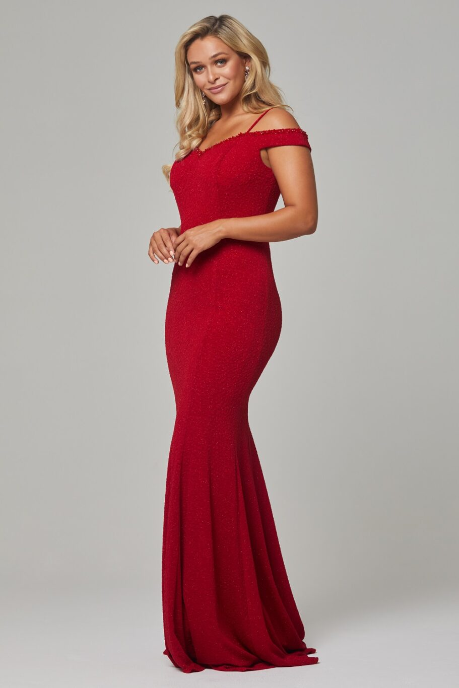 Alicia beaded wide shoulder evening dress-red