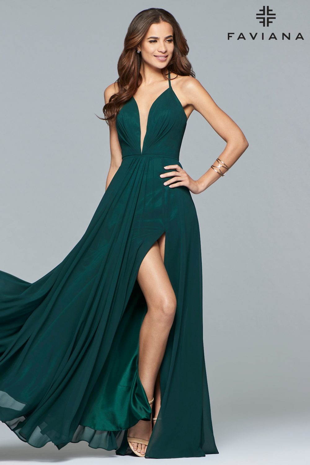 Faviana Deep V-Neck A-Line Chiffon Formal Dress 7747_Evergreen_Alternate