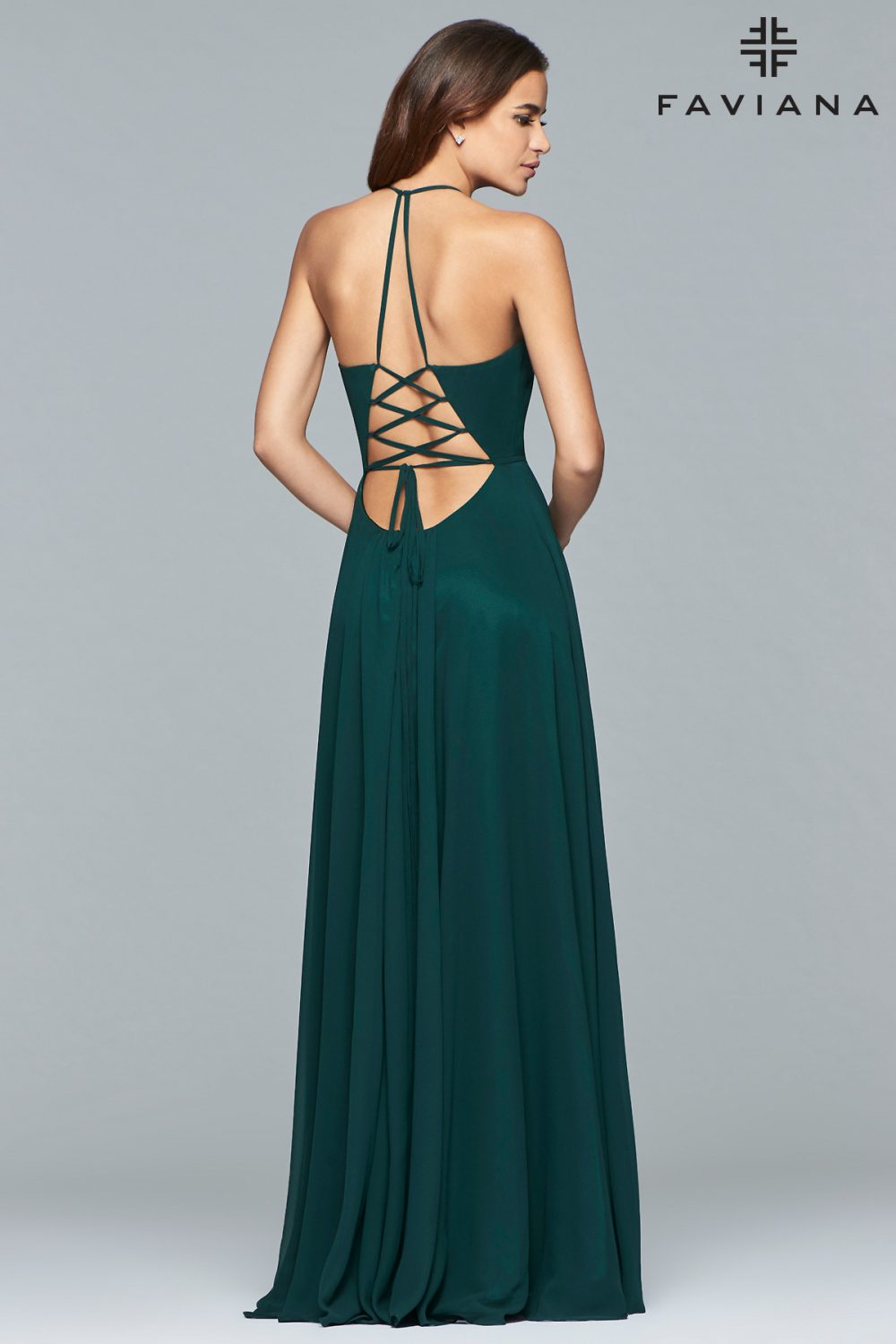 Faviana Deep V-Neck A-Line Chiffon Formal Dress 7747_Evergreen_Back