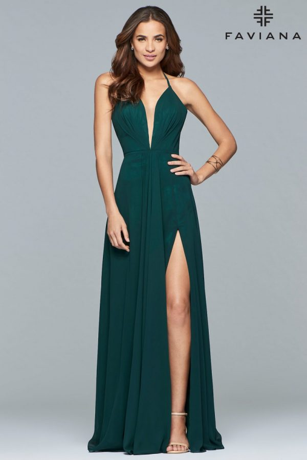Faviana Deep V-Neck A-Line Chiffon Formal Dress 7747_Evergreen_Front
