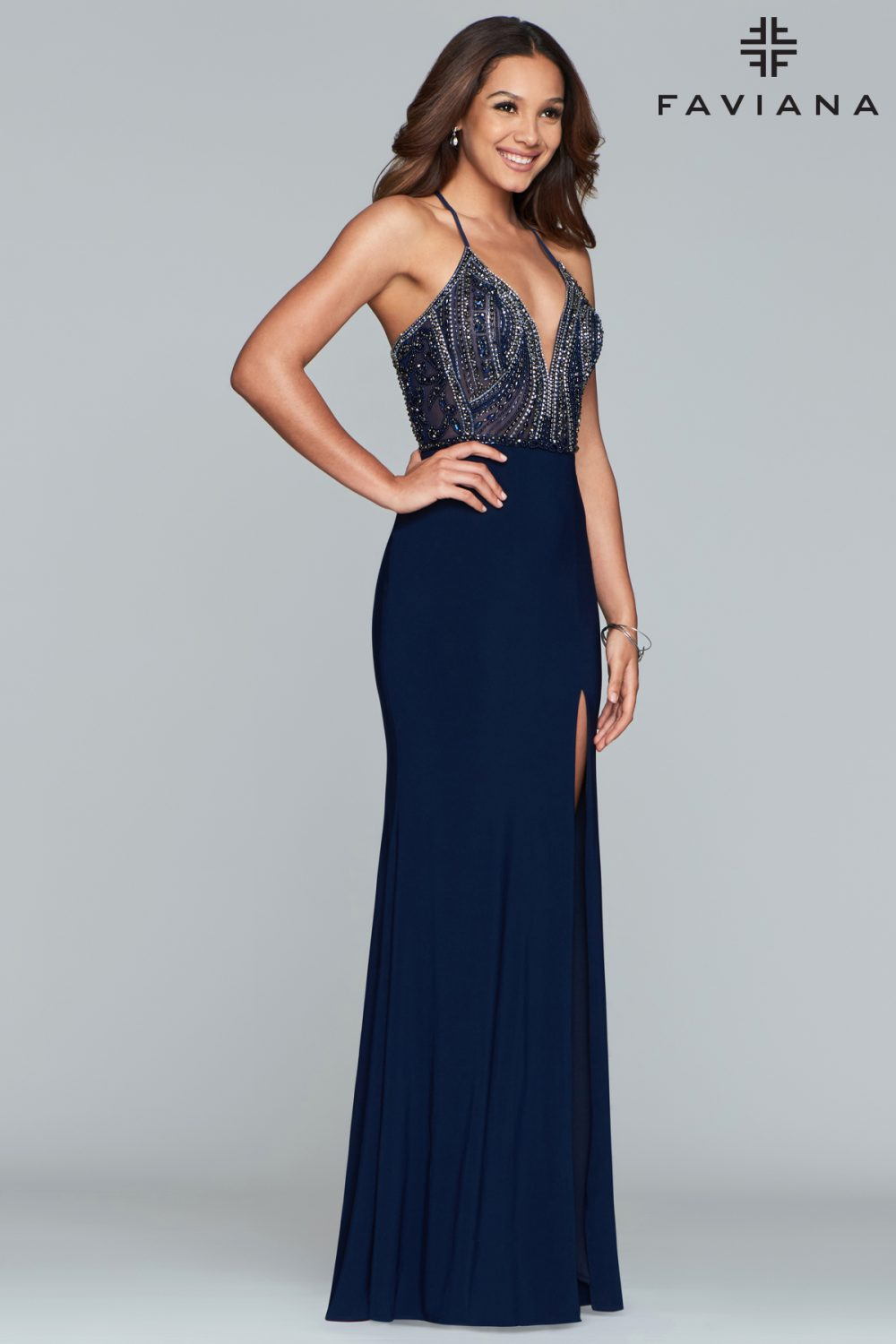Faviana Fitted Jersey V-Neck Formal Dress S10060_Navy_Front
