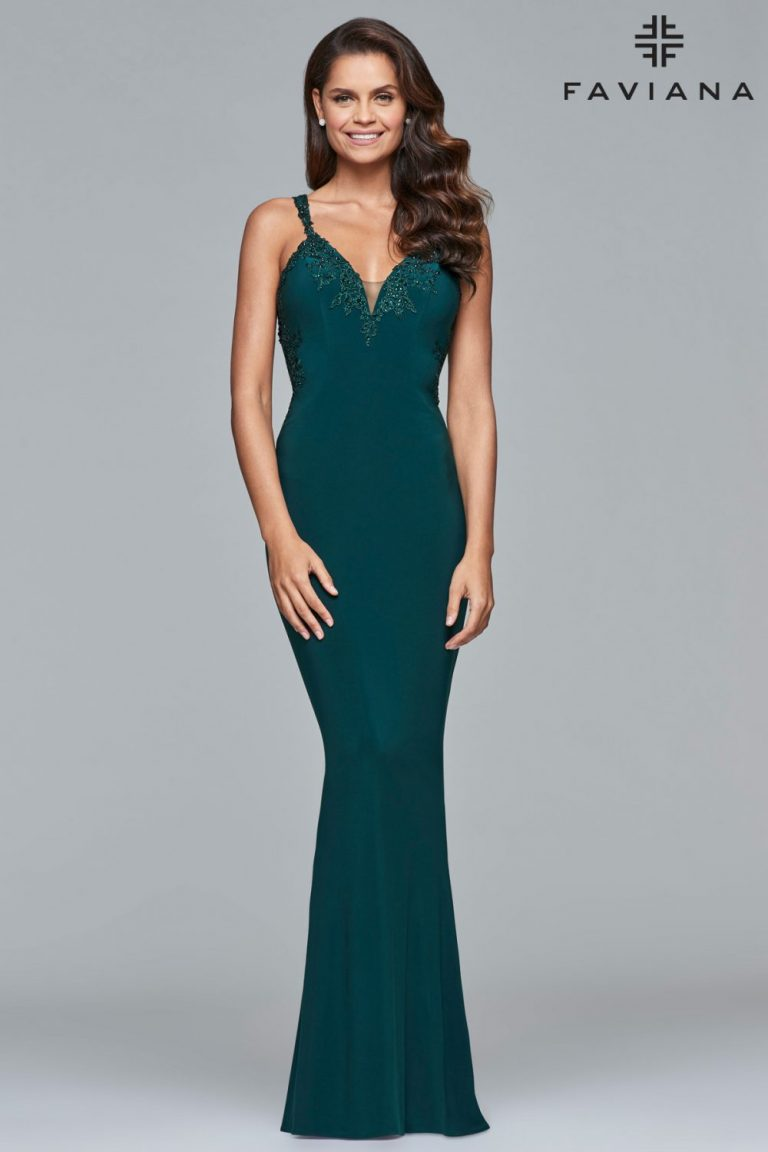 Faviana Fitted Open-back Formal Dress S7999_Evergreen_Alternate