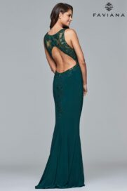 Faviana Fitted Open-back Formal Dress S7999_Evergreen_Back