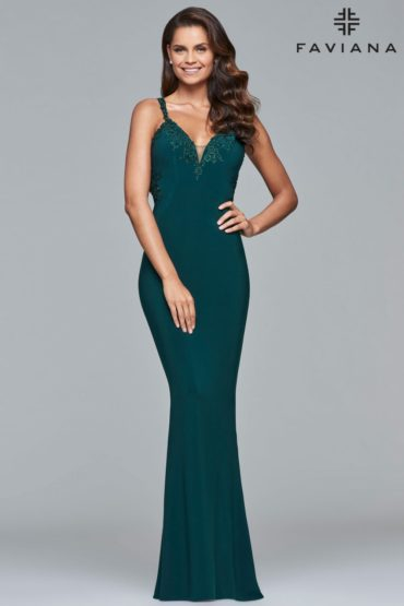 Faviana Fitted Open-back Formal Dress S7999_Evergreen_Front