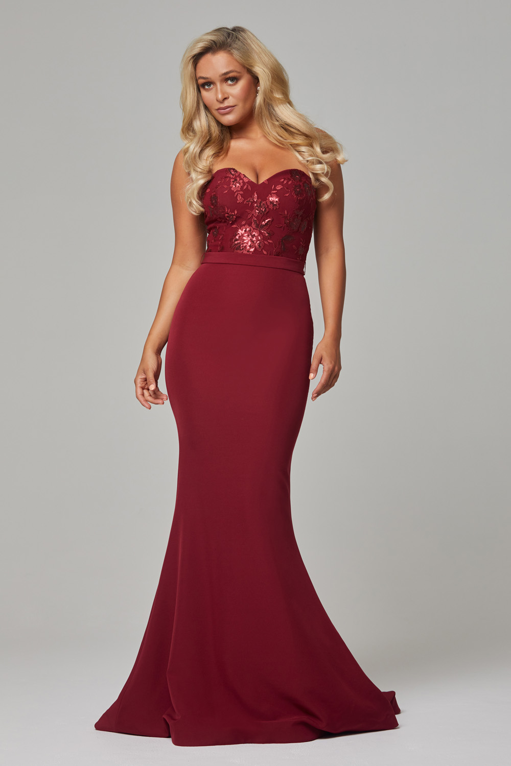 Paloma fitted strapless bridesmaid dress wine