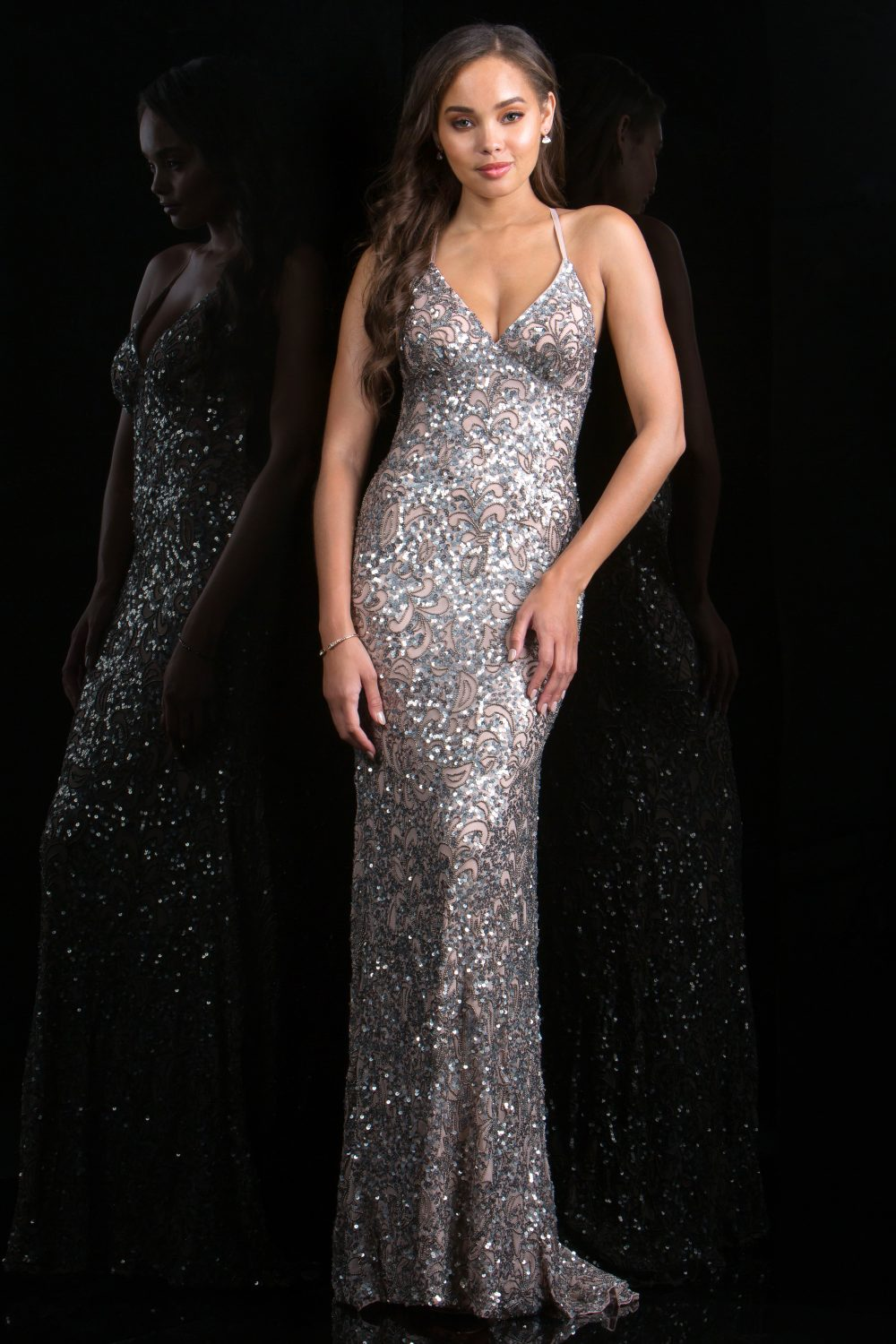 Scala Low Back Sequin Formal Dress 47542 ATQ