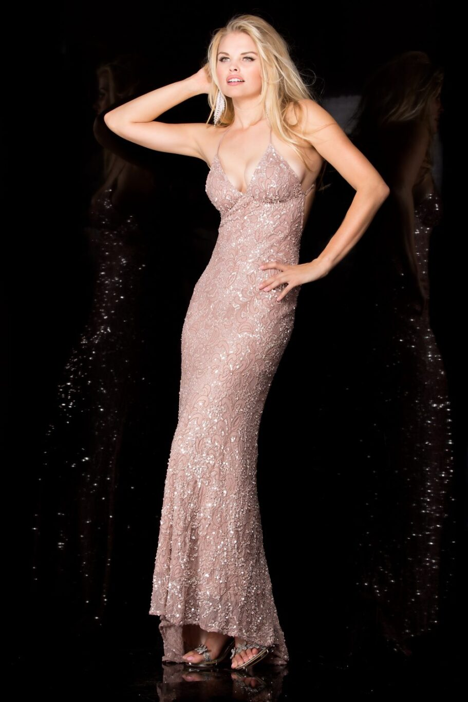 Scala Low Back Sequin Formal Dress 47542 RSE FRONT
