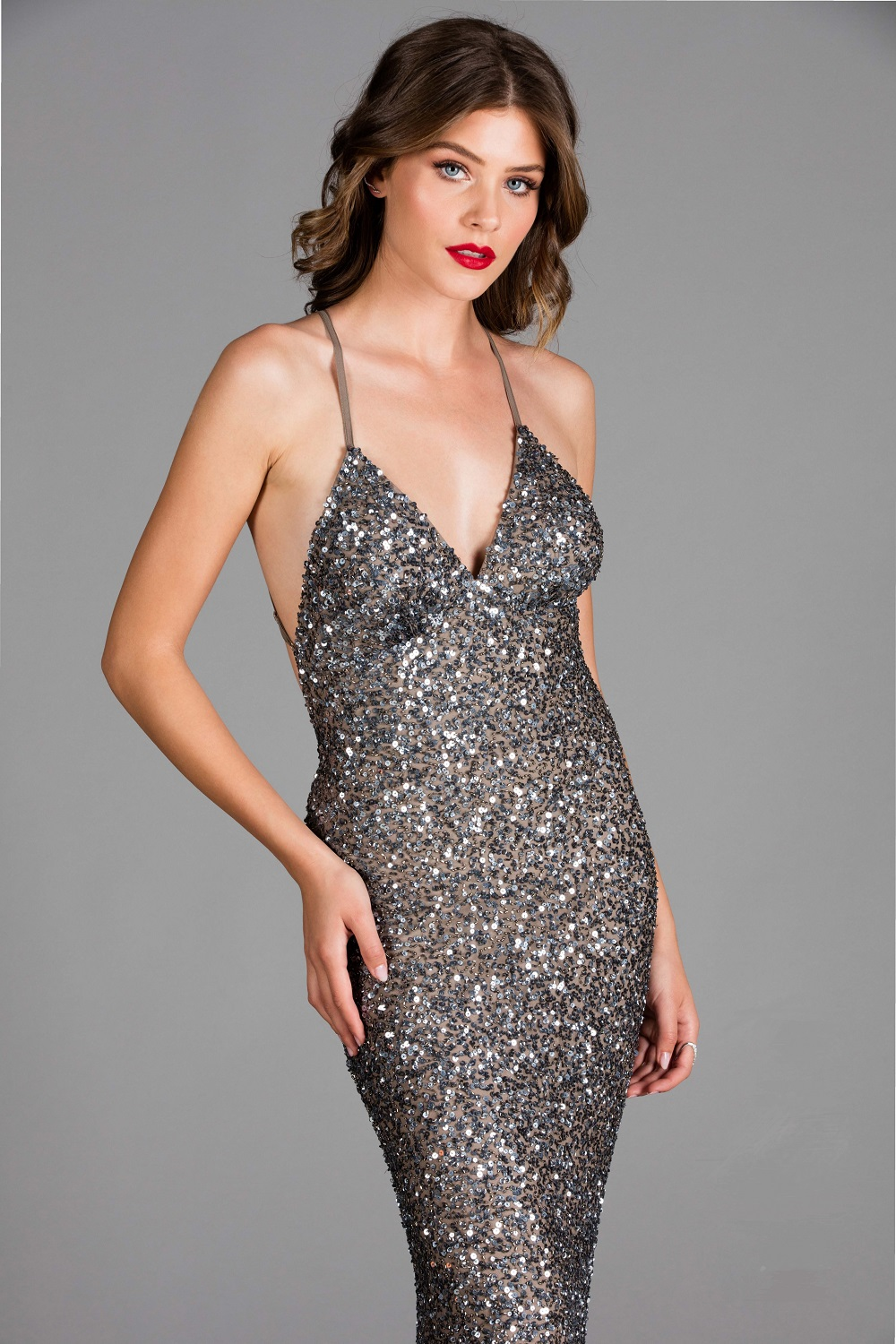 Scala Low Back sequin Pebble Formal dress 47551