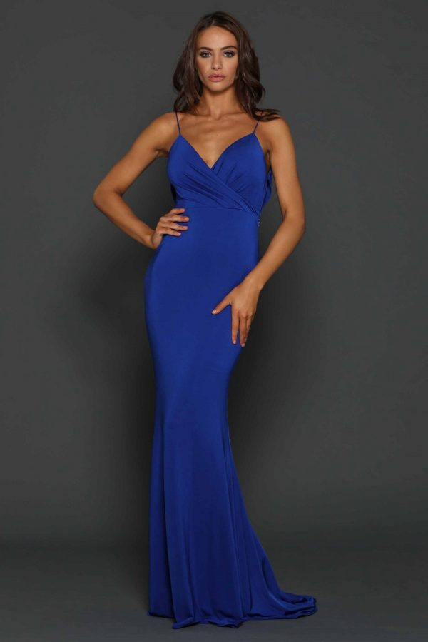 Tess cobalt low back Formal dress