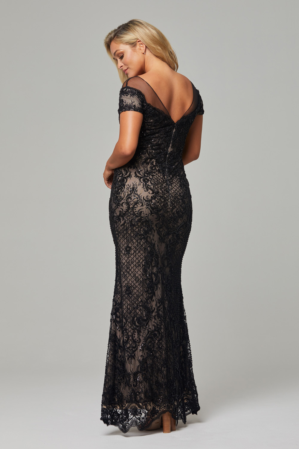 Evie Evening Dress back black