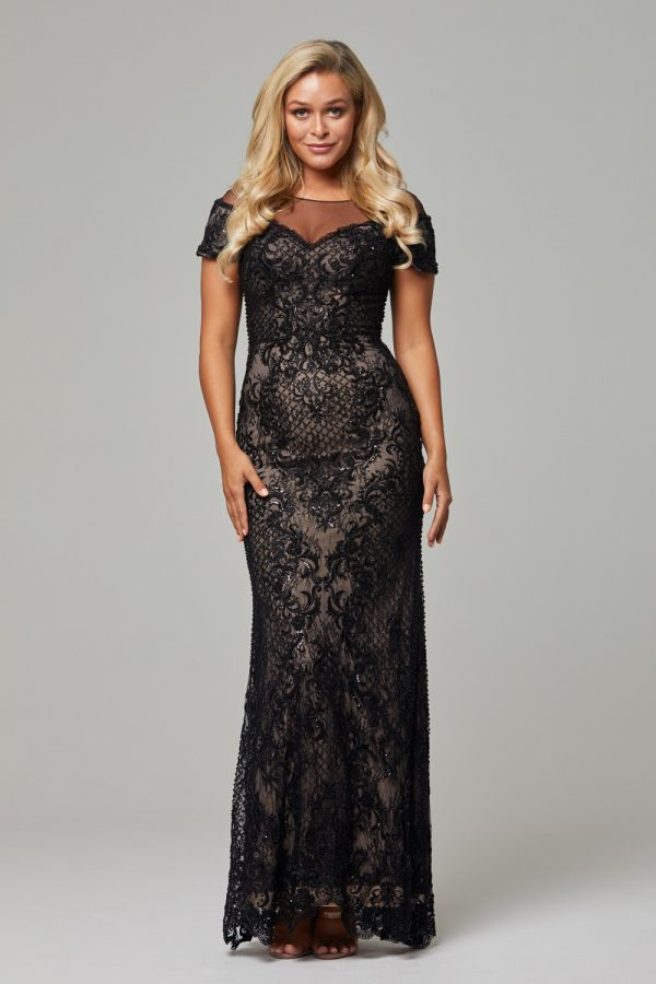 Evie evening Dress -Black nude-Evie dress (1)