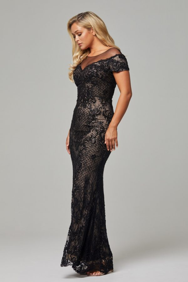 Evie evening Dress -Black Nude-Evie dress-side (1)