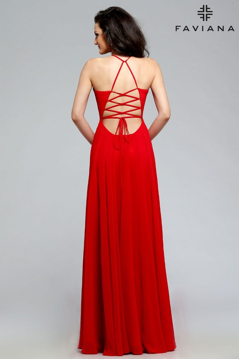 Faviana Deep V-Neck A-Line Chiffon Formal Dress 7747_Red_Back