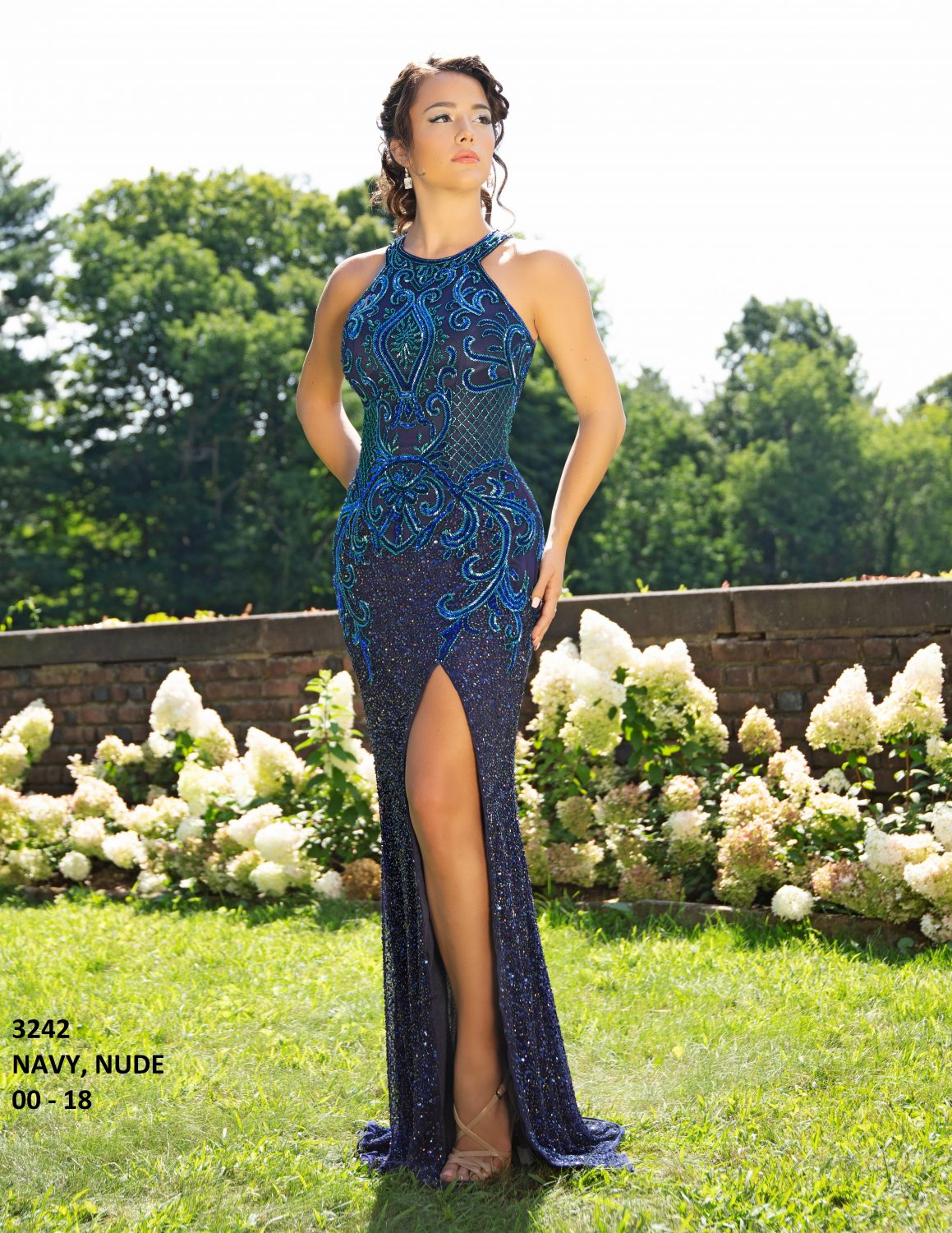 Primavera 3242 Beaded Sequin Formal Dress-NAVY (1)