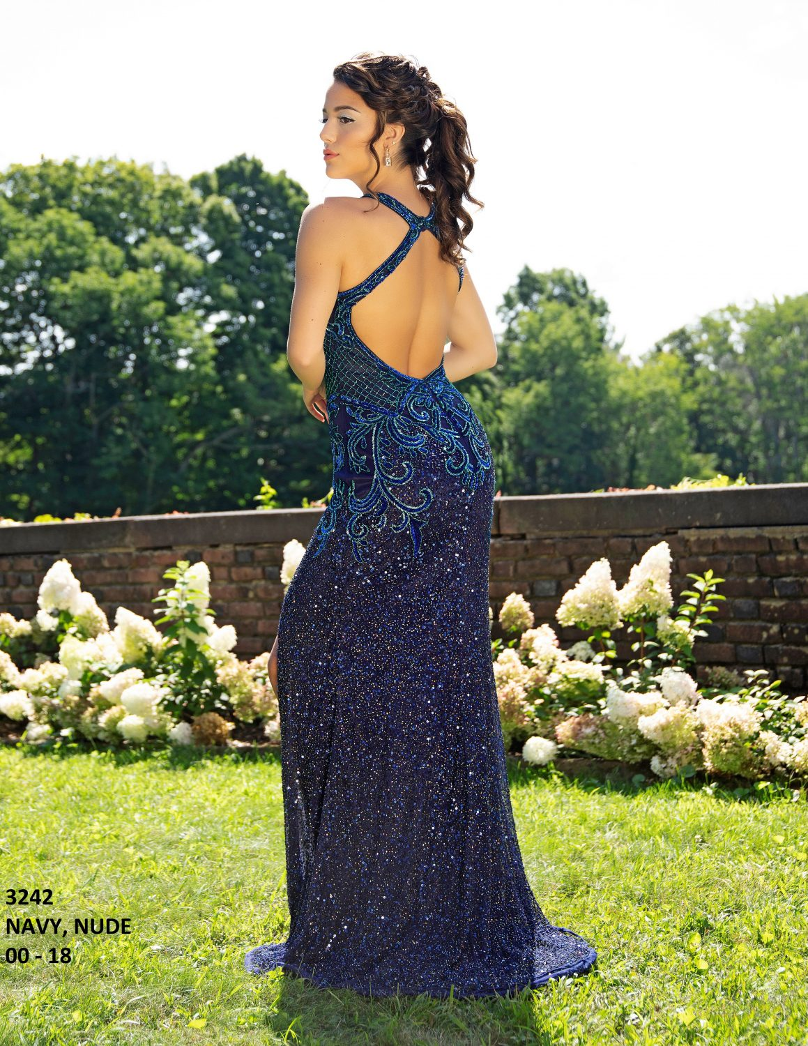Primavera 3242 Beaded Sequin Formal Dress--NAVY (2)
