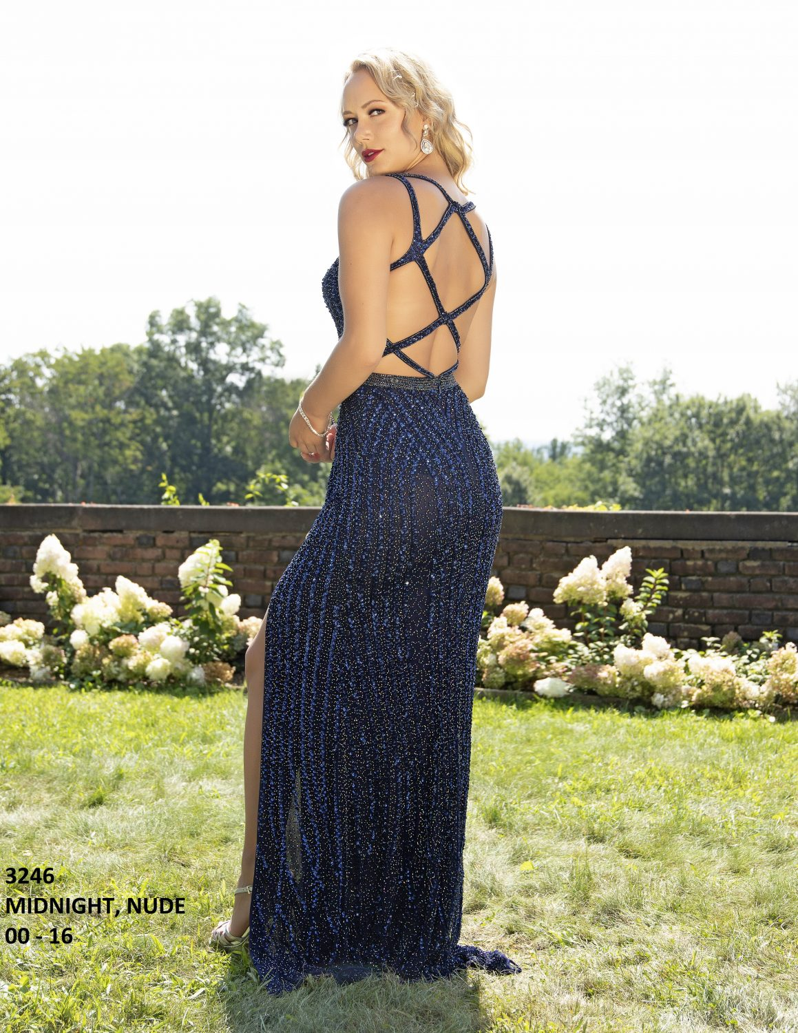 primavera 3246 beaded sequin formal dress-MIDNIGHT