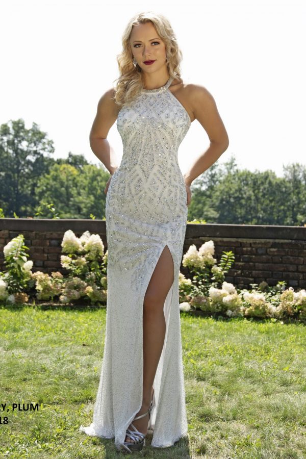 Primavera 3251 Beaded Sequin Formal Dress-IVORY (1)