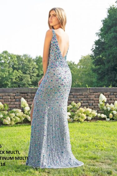 Primavera 3256 Beaded Sequin Formal Dress-PLATINUM-MULTI (2)