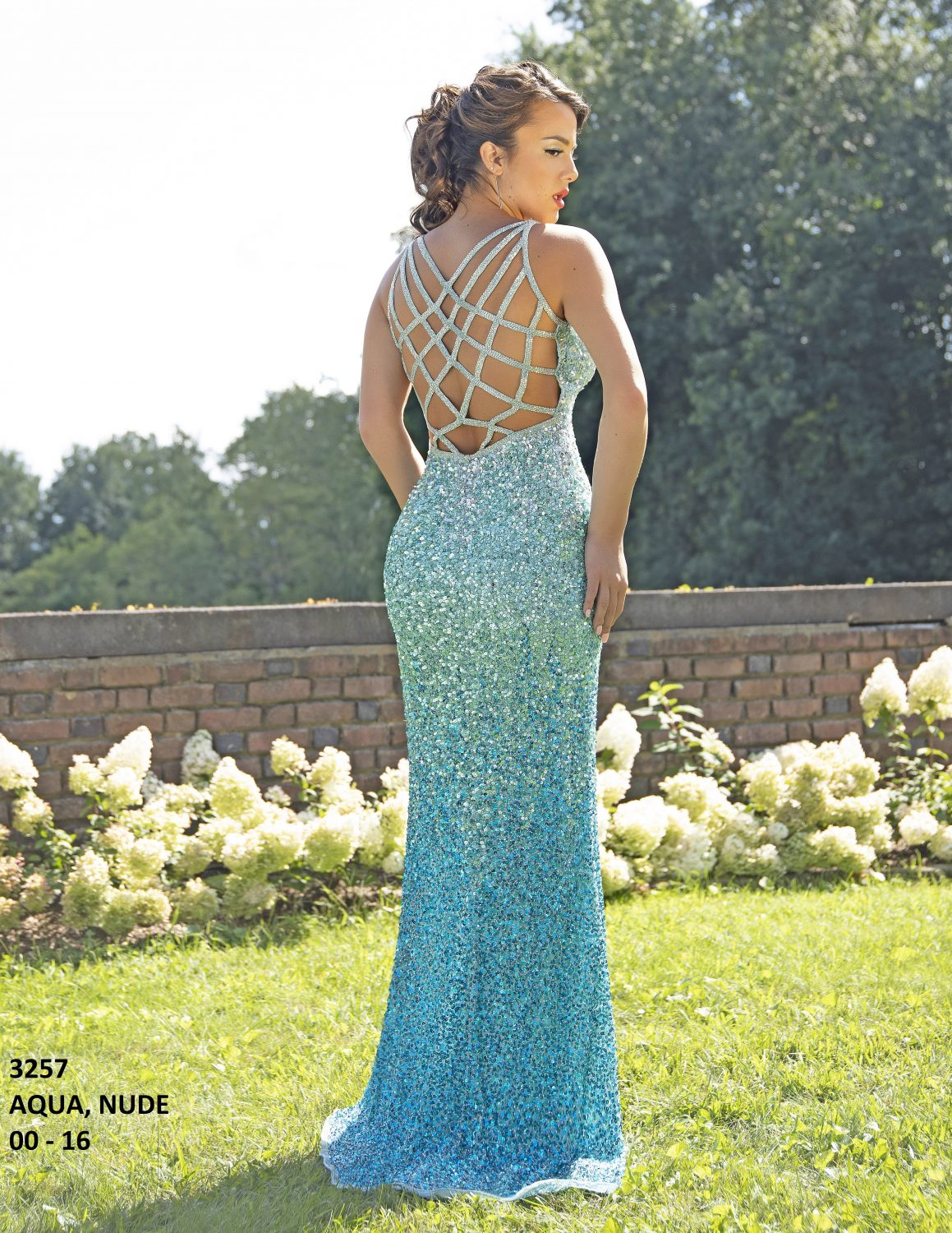 Primavera 3257 Beaded Sequin Formal Dress-AQUA (2)