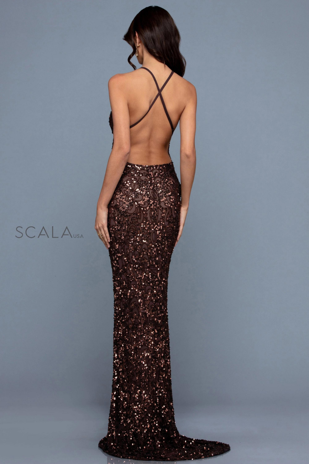 Scala 47542 low back sequin formal dress chocolate brown back