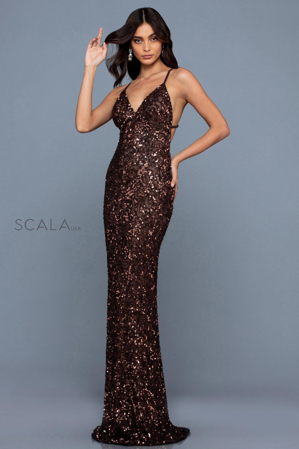 Scala 47542 low back sequin formal dress chocolate brown front