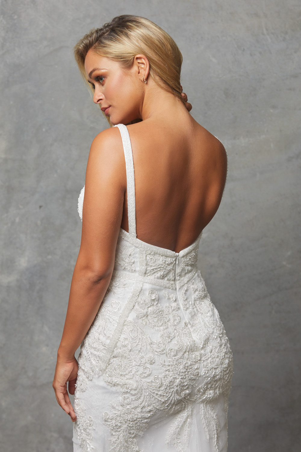 Adelia beaded wedding dres close up back