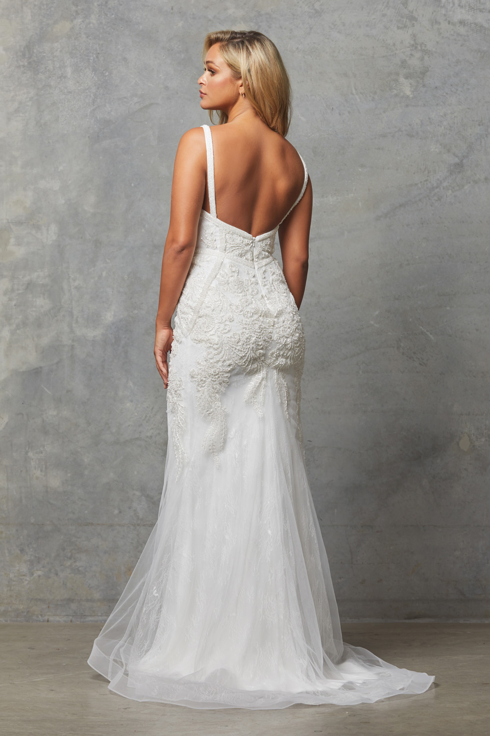 cAdelia beaded wedding dress back