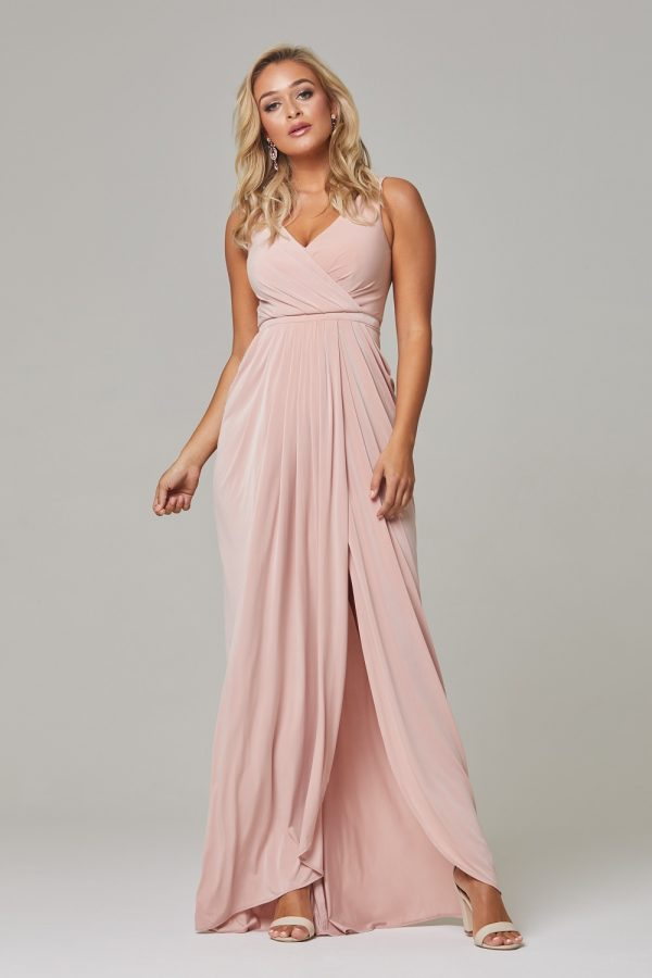 Bianca soft drape Bridesmaids Dress-blush