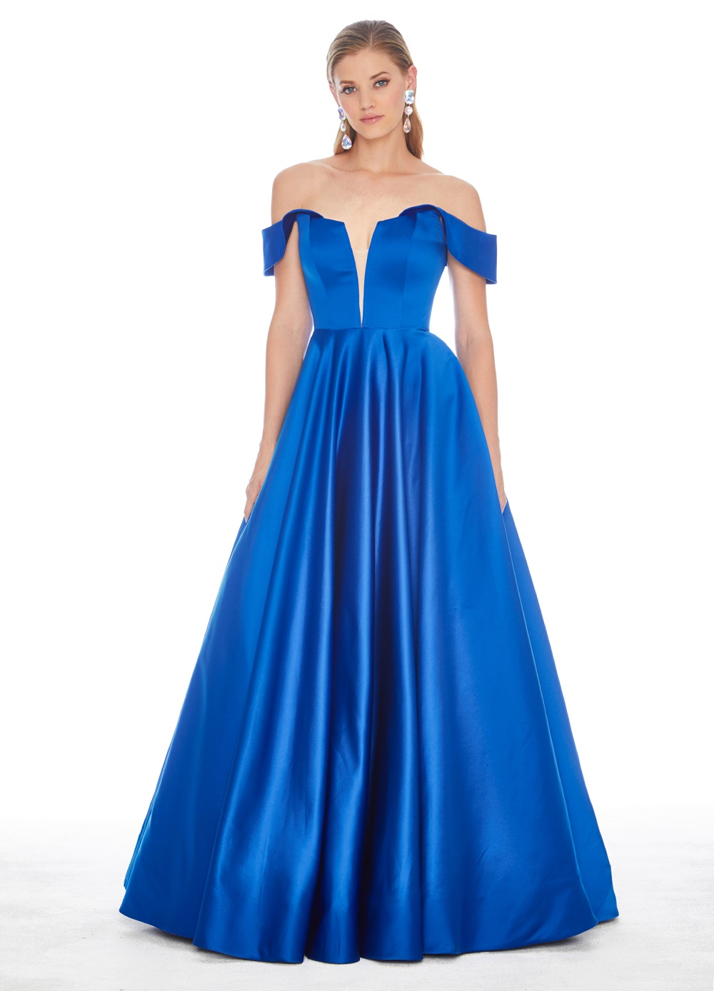 Ashley Lauren 1399 Satin Off Shoulder A-line Formal Dress