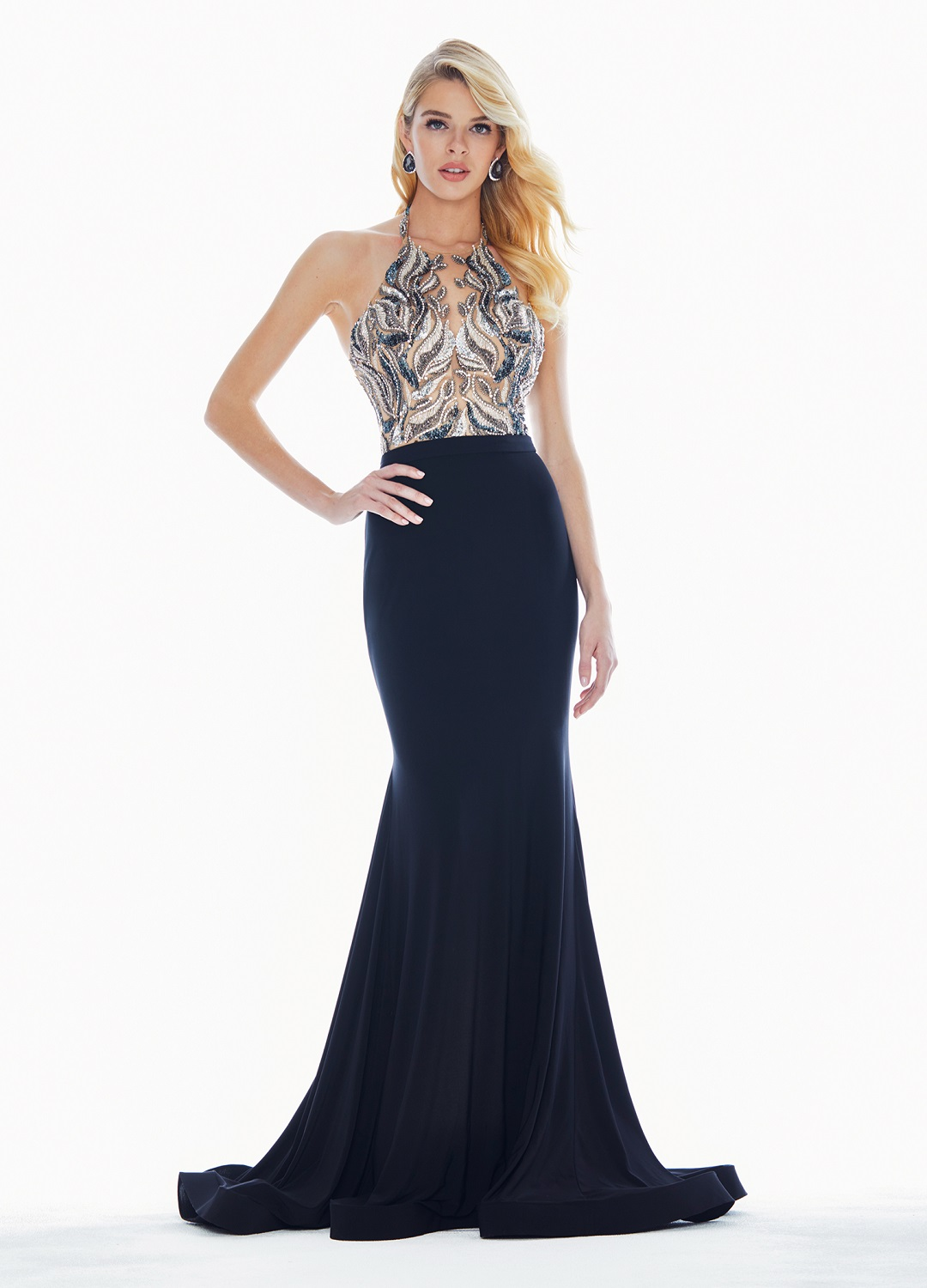 Ashley Lauren 1362 Black Beaded Halter Formal Dress