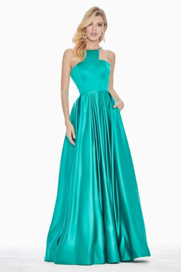 Ashley Lauren 1385 Satin Halter A-line Formal Dress