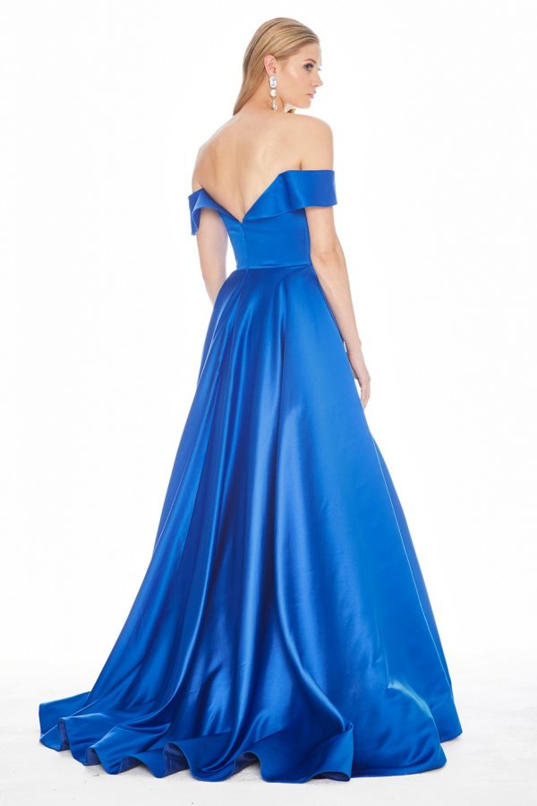 Ashley Lauren 1399 Satin Off Shoulder A-line Formal Dress back