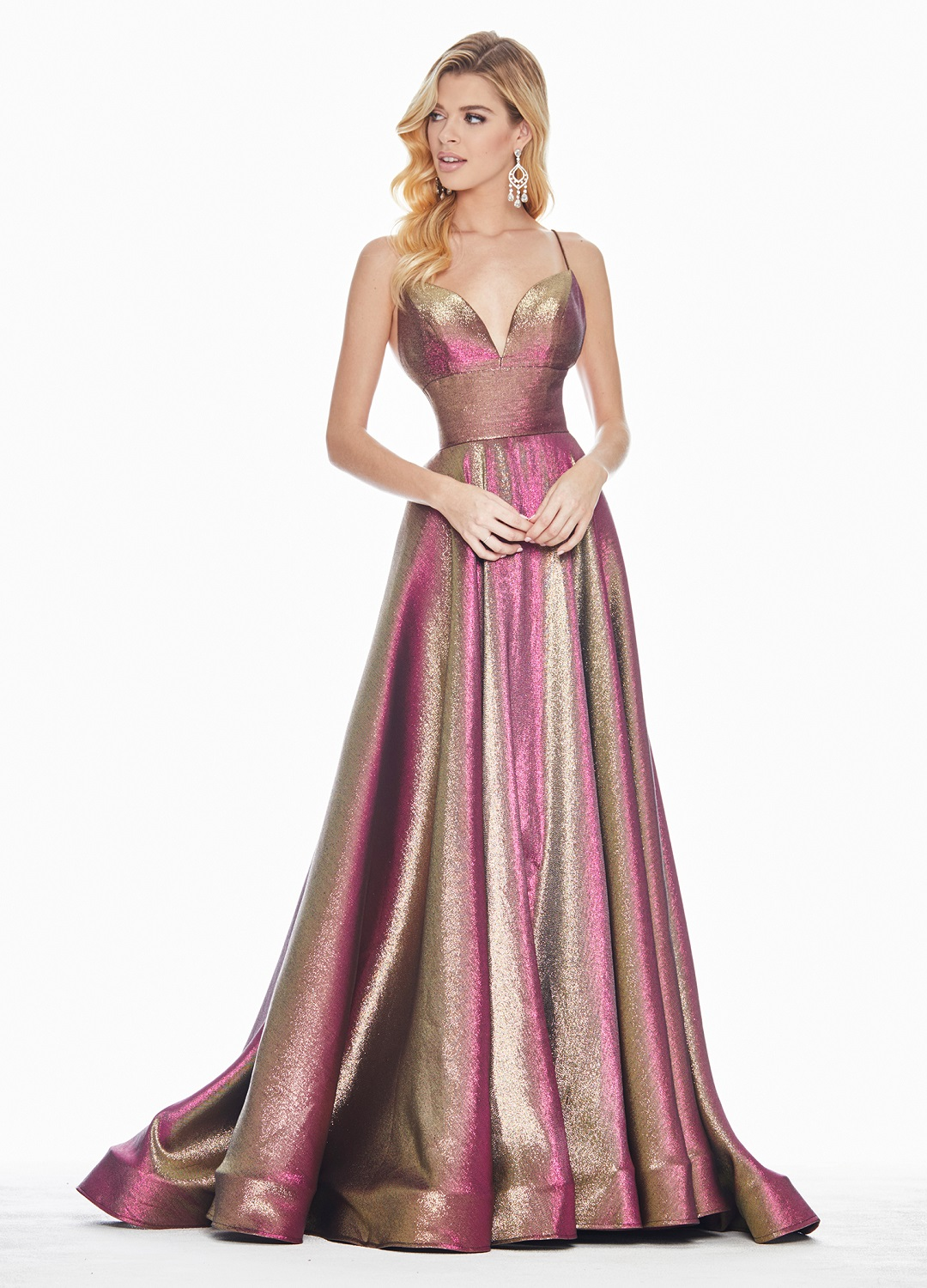 Ashley Lauren 1513 Fuchsia Metallic A-line Formal Dress Front