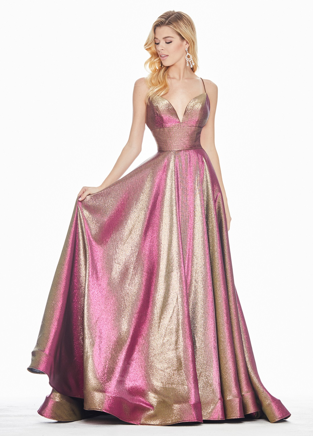 Ashley Lauren 1513 Fuchsia Metallic A-line Formal Dress
