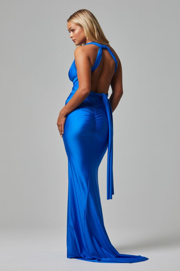 ETERNITY Fitted Wrap Foraml dress COBALT-BACK (1)