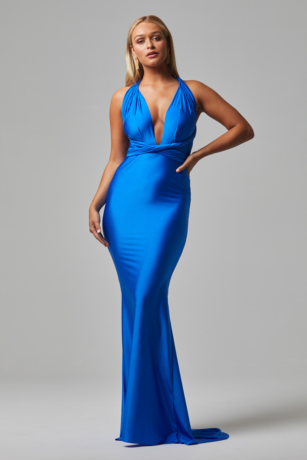Eternity fitted wrap Formal dress COBALT (1)