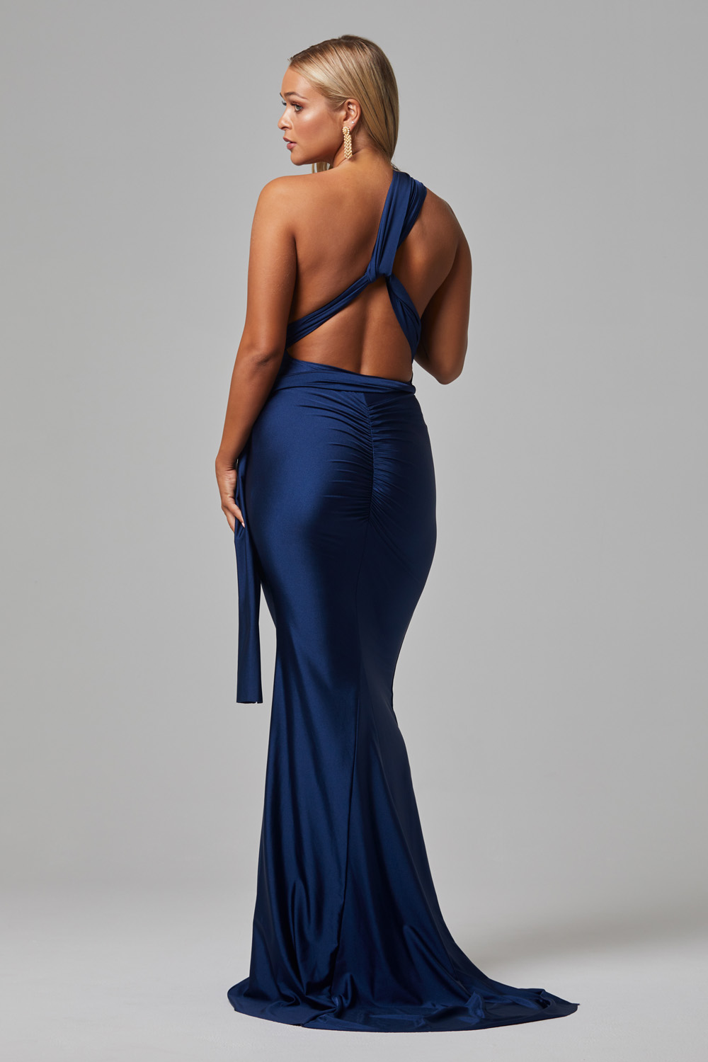 ETERNITY Fitted Wrap Formal dress NAVY-BACK (1)