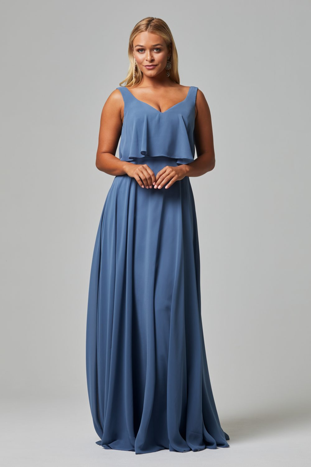 Hesper Bridesmaid Dress - Dusty Blue FRONT