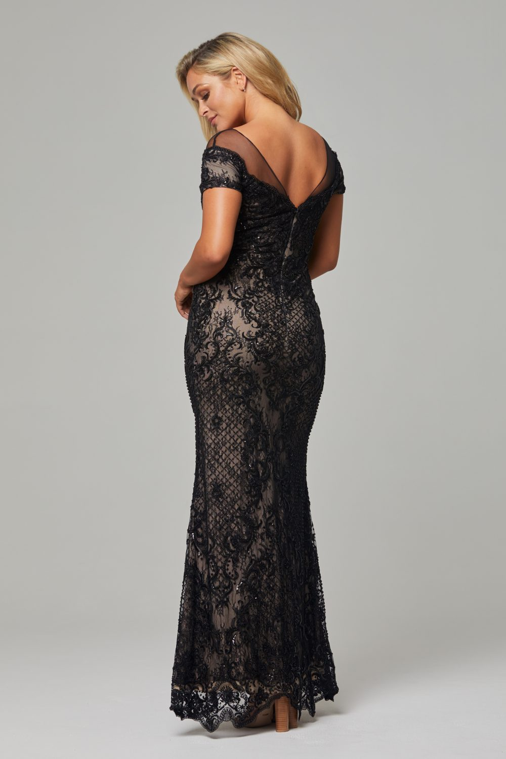 TC228-Black nude-Evie dress-back