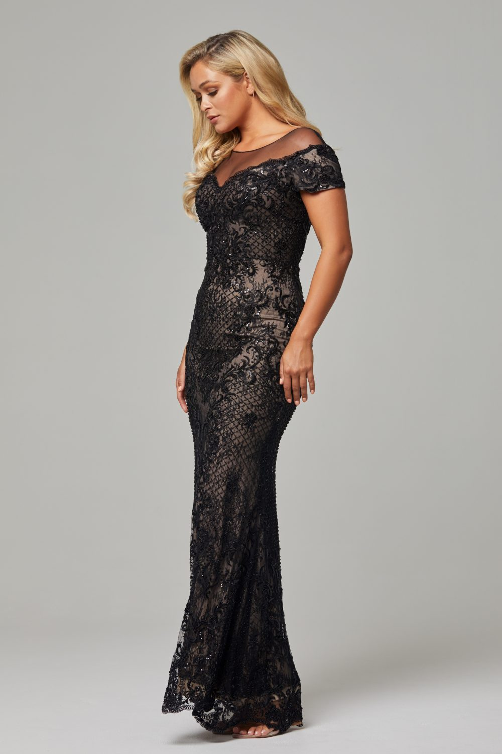 TC228-Black Nude-Evie dress-side