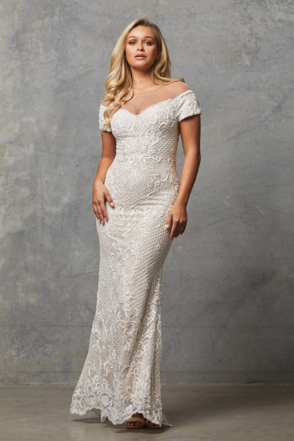 TC228-Vintage white nude-Evie dress
