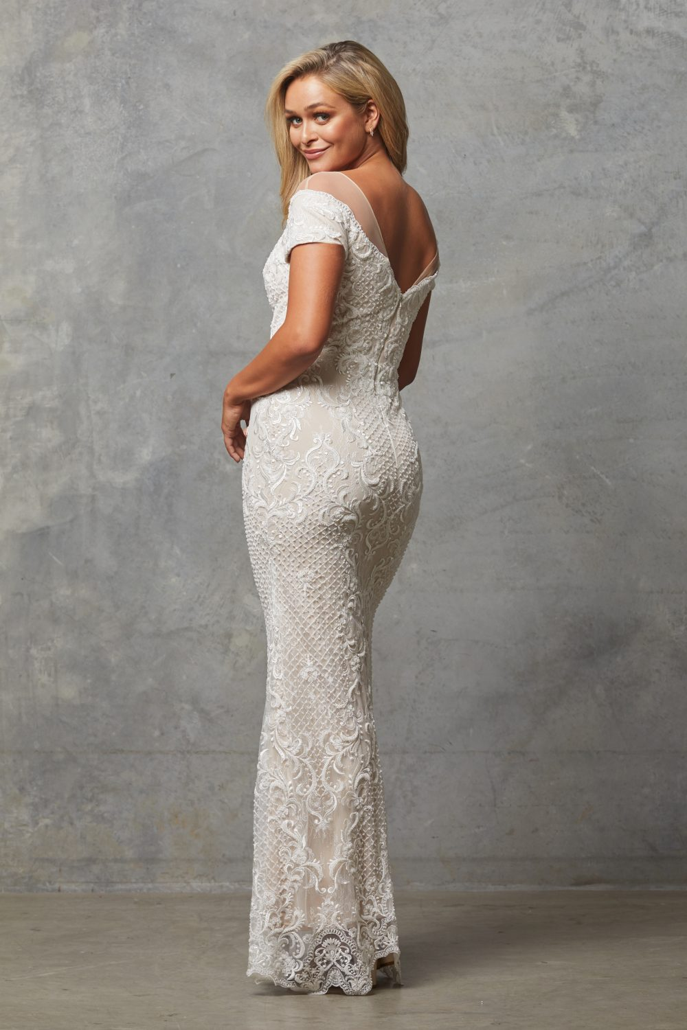 TC228-Vintage white nude-Evie dress-back