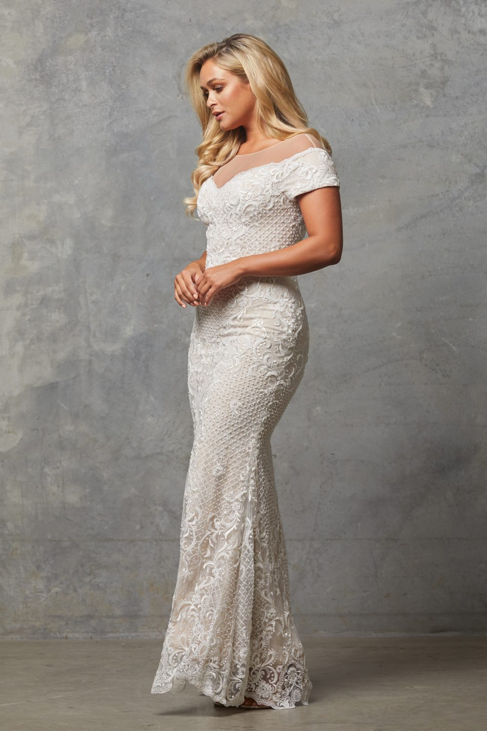 TC228-Vintage white nude-Evie dress-side