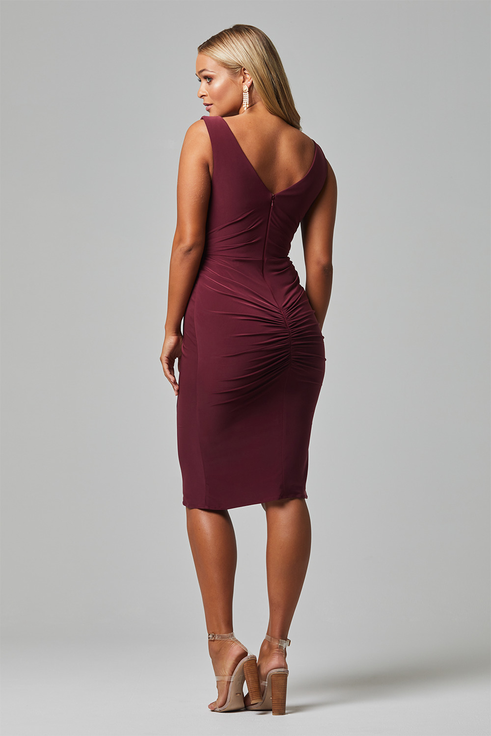 TO826 delta bridesmaid dress back wine