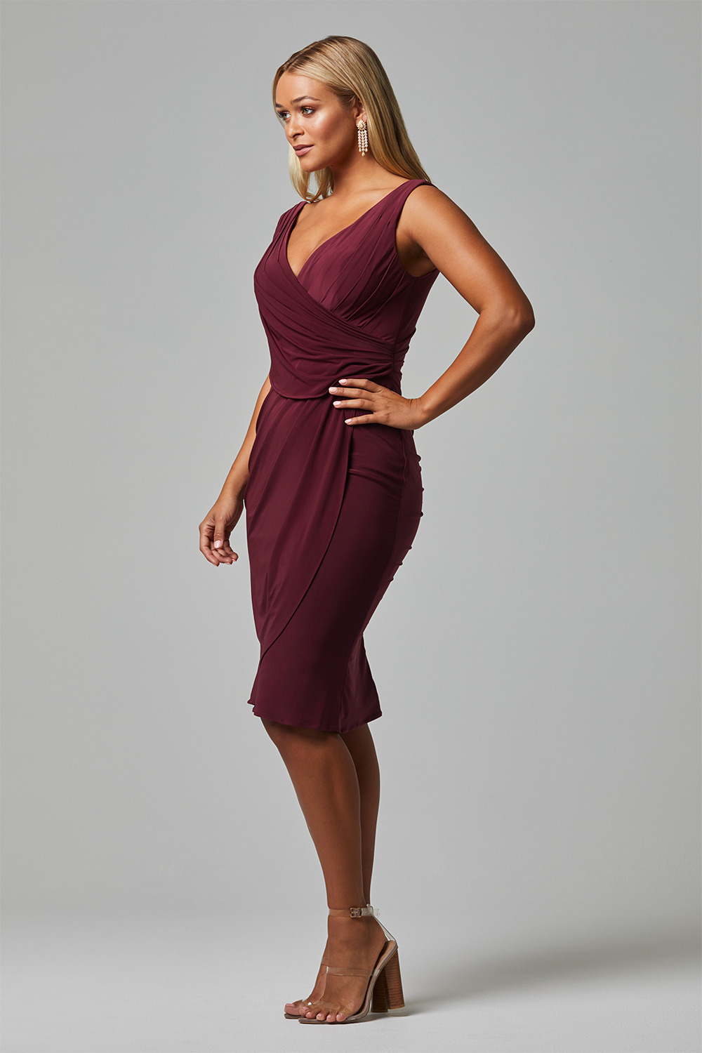 TO826 delta bridesmaid dress side wine