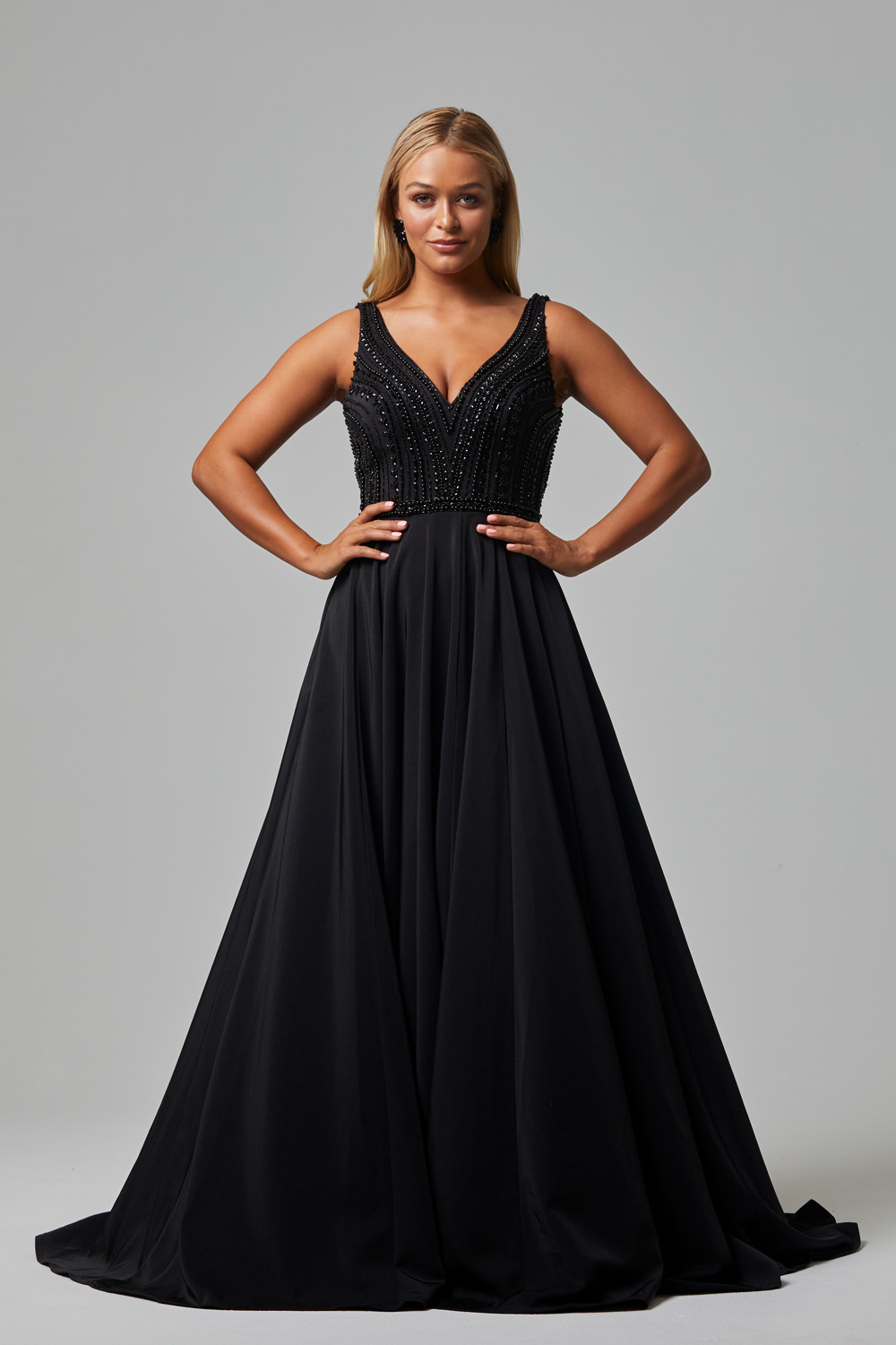 Addilyn V neck beaded evening dress