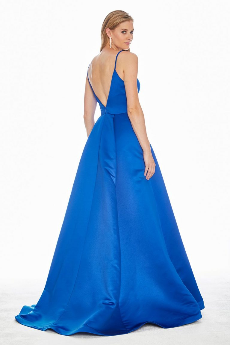 Ashley Lauren 1384 V-Neckline Satin Formal Dress - back