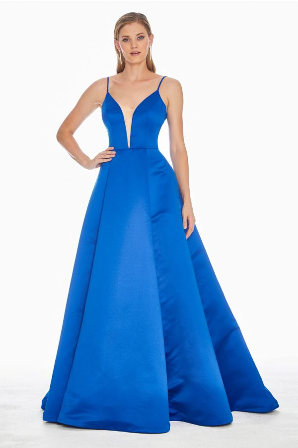 Ashley Lauren 1384 V-Neckline Satin Formal Dress - front